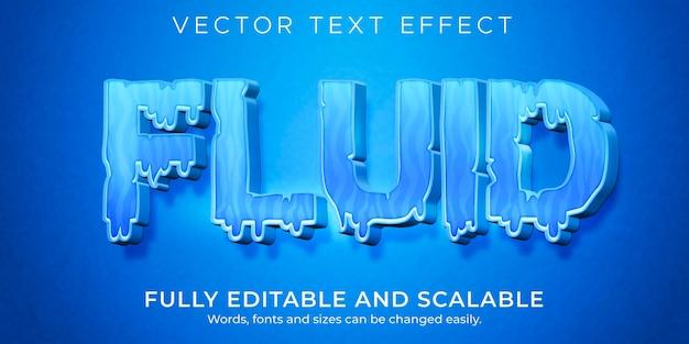 Text-effekt für flüssiges wasser, bearbeitbarer blauer und flüssiger textstil Premium Vektoren