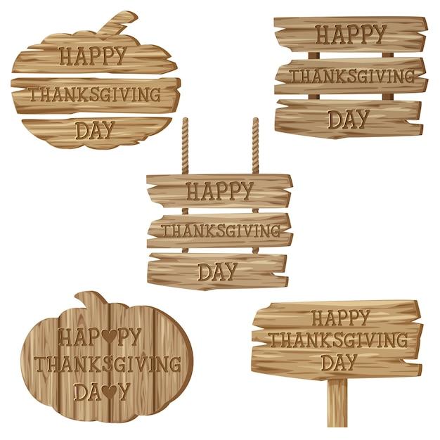 Text happy thanksgiving day mit verschiedenen holzschildern Kostenlosen Vektoren