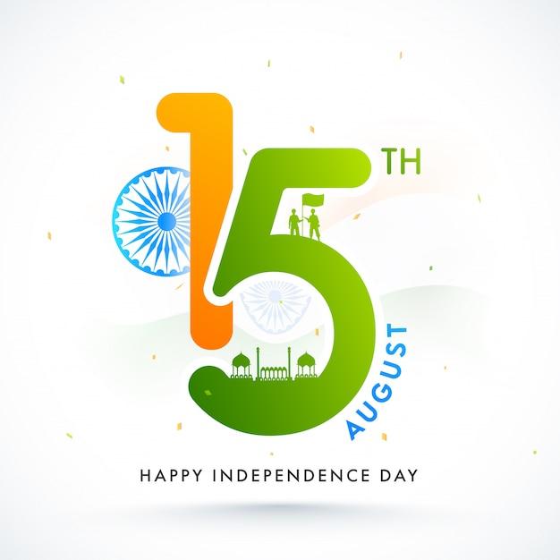 Text mit ashoka wheel, silhouette red fort und soldaten, die eine flagge auf weißem hintergrund für eine glückliche feier zum unabhängigkeitstag halten. Premium Vektoren
