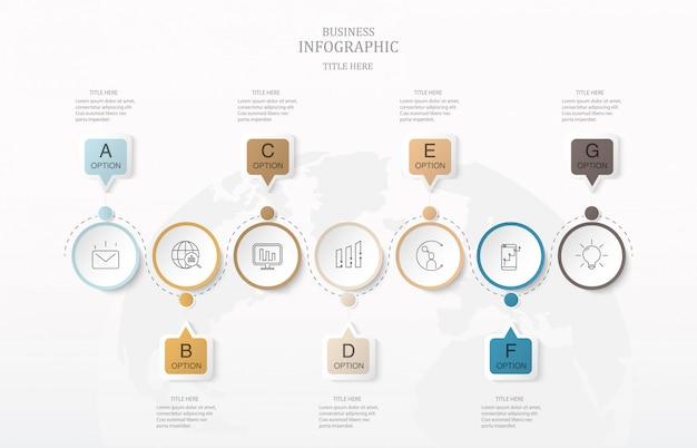 Text mit sieben kästchen infographics und weltkartenhintergrund. Premium Vektoren