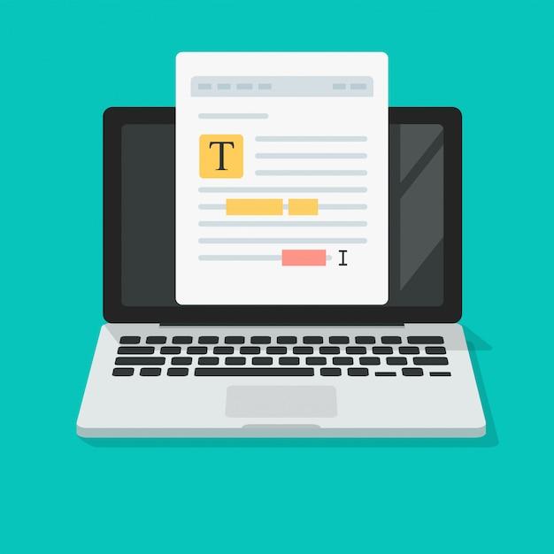 Textdateianmerkungen oder dokumentinhalt, die online auf flacher karikatur der laptop-computer ikone bearbeiten Premium Vektoren