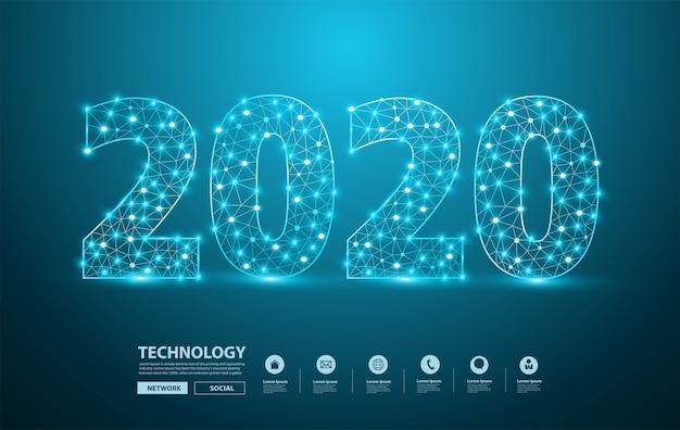 Textdesign des neuen jahres 2020 mit stilvollen alphabetbuchstaben der masche nummeriert Premium Vektoren