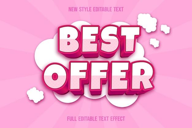 Texteffekt 3d bieten am besten farbe weiß und rosa an Premium Vektoren