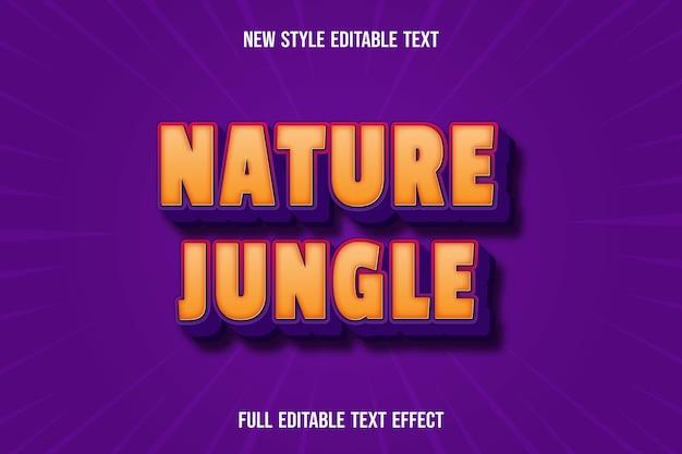 Texteffekt 3d naturdschungelfarbe orange und lila Premium Vektoren