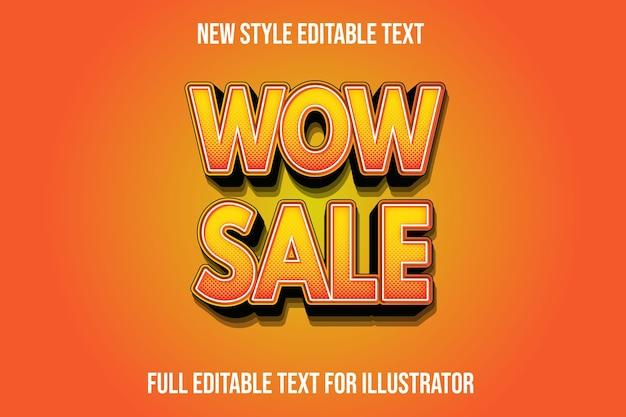Texteffekt 3d wow verkaufsfarbe orange und schwarzer farbverlauf Premium Vektoren
