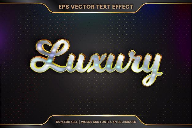 Texteffekt im 3d-luxuswort-schriftstilthema editierbares metallgold-silberfarbkonzept Premium Vektoren