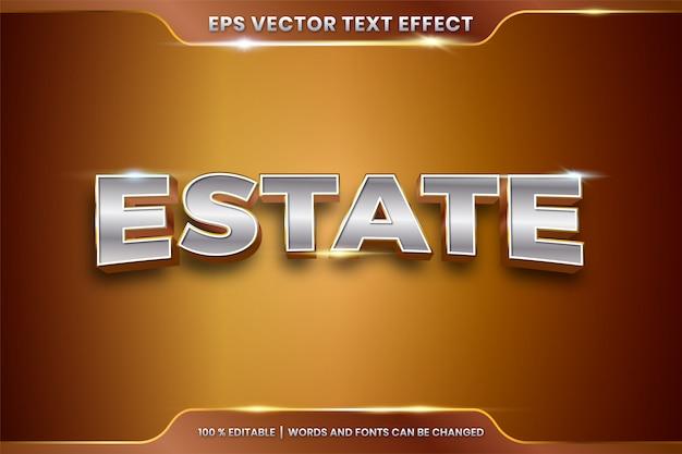 Texteffekt in 3d-nachlasswörtern texteffektthema editierbares metallgoldchromfarbkonzept Premium Vektoren