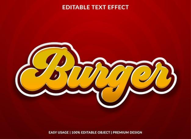 Texteffektschablone im burger-retro-stil Premium Vektoren