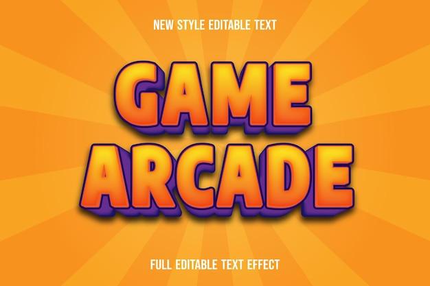 Texteffektspiel arcade farbe orange und lila Premium Vektoren