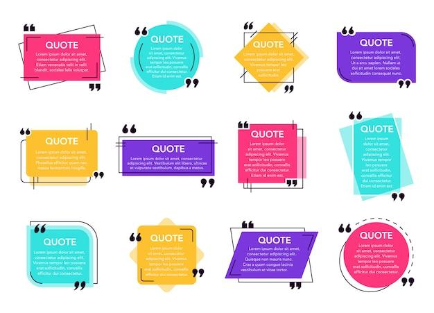 Textfeld zitieren. zitierte box frame label, social network zitiert dialogblase, bemerkung text frames und quote frames template icons gesetzt. sammlung von geometrischen kommentarhintergründen Premium Vektoren