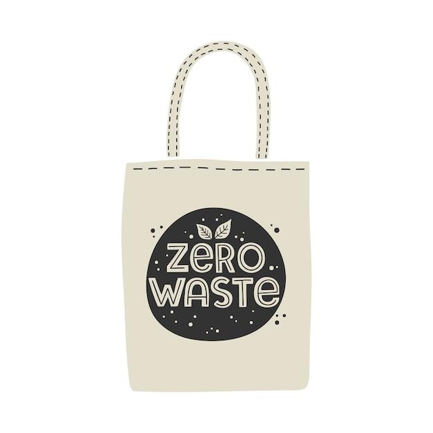 Textile, umweltfreundliche, wiederverwendbare einkaufstasche mit dem schriftzug zero waste. Premium Vektoren