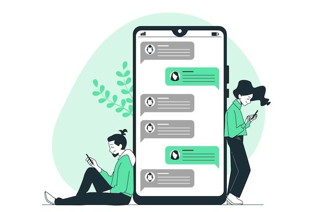 Texting konzept illustration Kostenlosen Vektoren