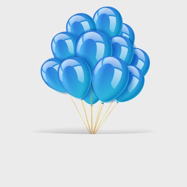 Textraum mit bündel fliegenden blauen ballonen Premium Vektoren