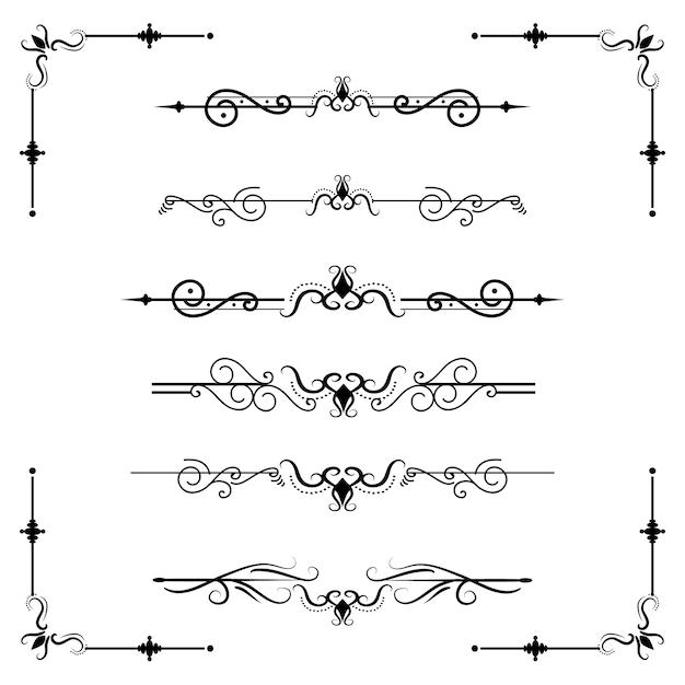 Texttrennzeichen decoratice teilerbuchtypographie-verzierungsgestaltungselementweinlese, die formen grenzillustration teilt Premium Vektoren
