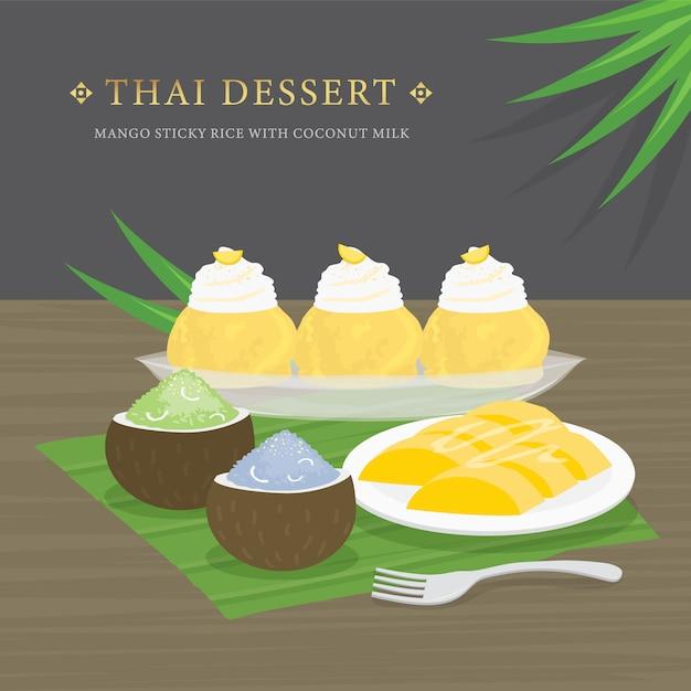 Thai dessert, mango und klebreis mit kokosmilch und mangosauce. Premium Vektoren