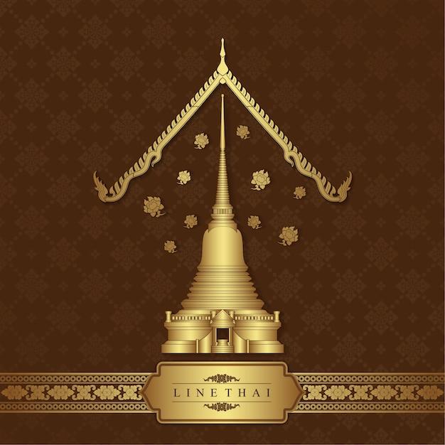 Thai kunst tempel hintergrund Premium Vektoren
