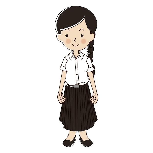 Thailändische frau in der hochschulstudentenuniform Premium Vektoren