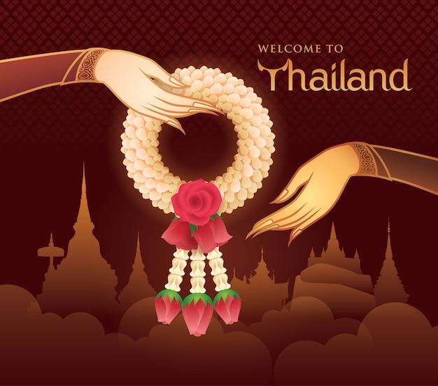 Thailändische jasmin-und rosen-girlande, illustration der thailändischen kunst, goldhand, die garland vector hält Premium Vektoren