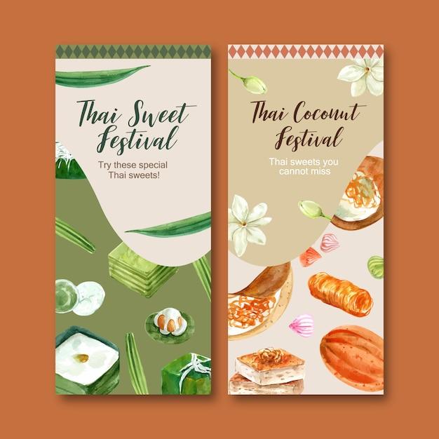 Thailändische süße fahne mit goldenen threads, thailändische vanillepuddingaquarellillustration. Kostenlosen Vektoren