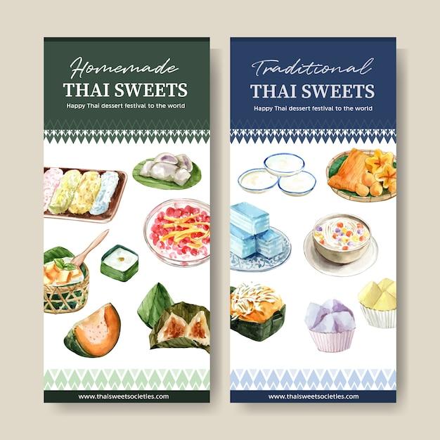 Thailändische süße fahne mit goldenen threads, überlagerte geleeaquarellillustration. Kostenlosen Vektoren