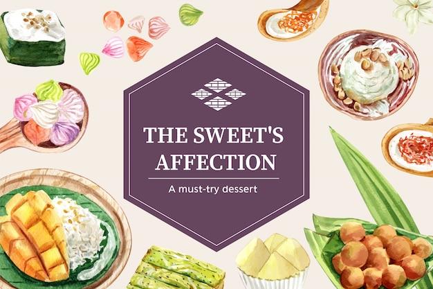 Thailändische süße fahnenschablone mit klebrigem reis, mango, eiscremeillustrationsaquarell. Kostenlosen Vektoren