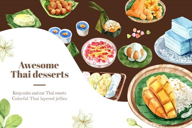 Thailändische süße fahnenschablone mit klebrigem reis, puddingillustrationsaquarell. Kostenlosen Vektoren
