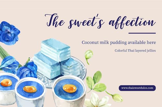 Thailändische süße fahnenschablone mit überlagertem gelee, puddingillustrationsaquarell. Kostenlosen Vektoren