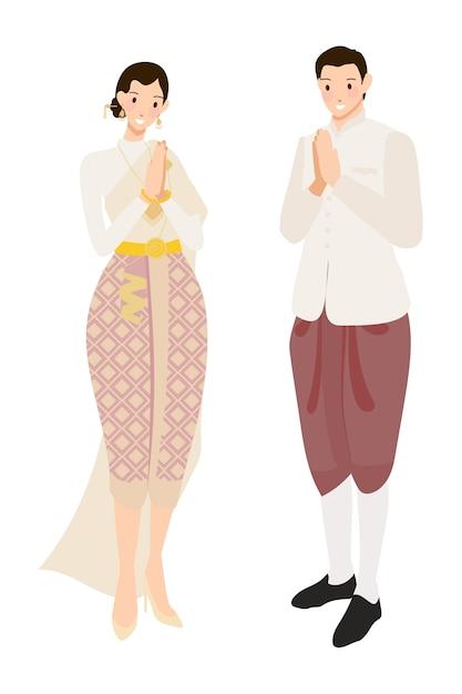 Thailändischer hochzeitspaargruß im cremetrachtenkleid Premium Vektoren