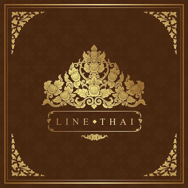 Thailändischer kunstrahmen für dekoration Premium Vektoren