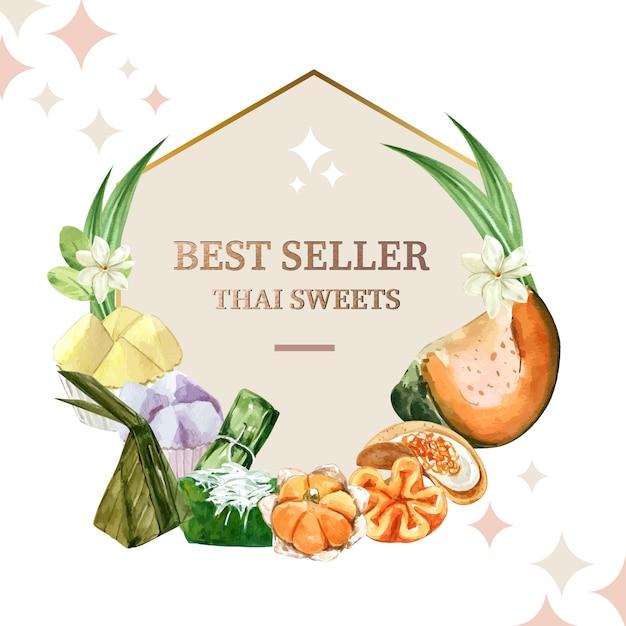 Thailändischer süßer kranz mit gedämpftem kürbis, eivanillepudding-illustrationsaquarell. Kostenlosen Vektoren