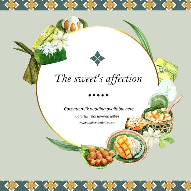 Thailändischer süßer kranz mit pudding, klebriger reis, mangoillustrationsaquarell. Kostenlosen Vektoren