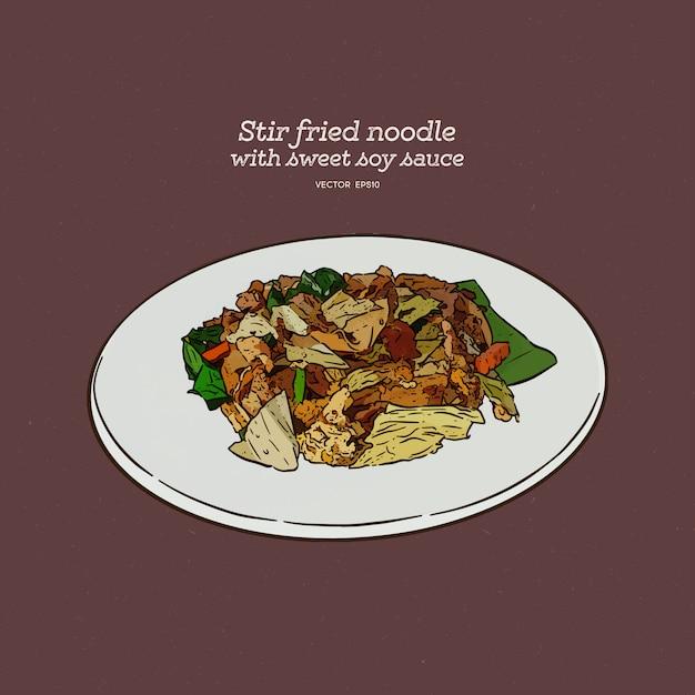 Thailändisches essen, gebratene reisnudeln in sojasauce (pad see ew) umrühren, skizze von hand zeichnen. Premium Vektoren