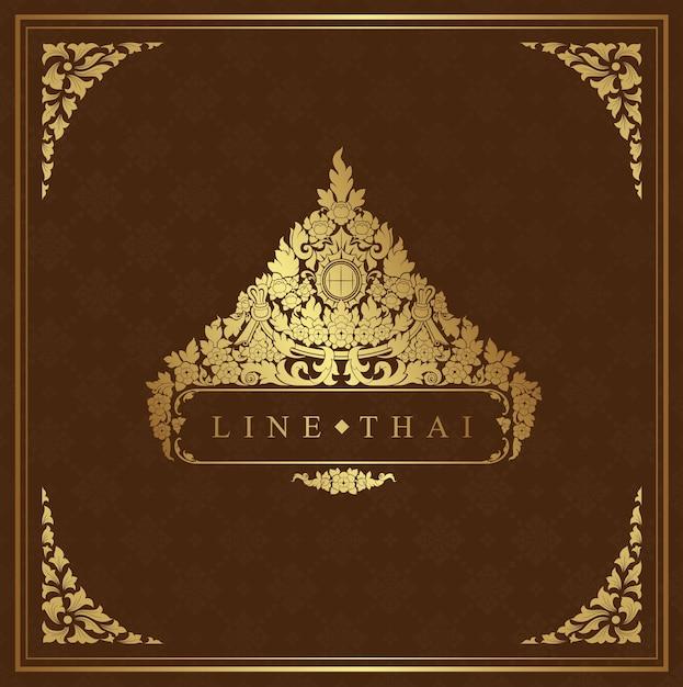 Thailändisches kunstluxustempel- und -hintergrundmuster Premium Vektoren