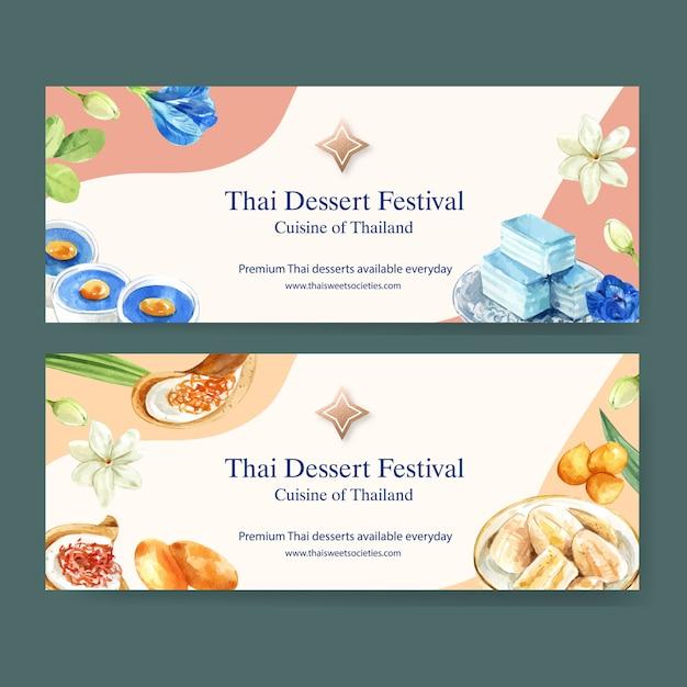 Thailändisches süßes fahnendesign mit überlagertem gelee, pudding, bananenaquarellillustration. Kostenlosen Vektoren