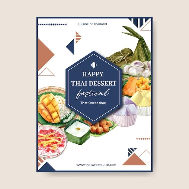 Thailändisches süßes plakatdesign mit klebrigem reis, mango, puddingillustrationsaquarell. Kostenlosen Vektoren