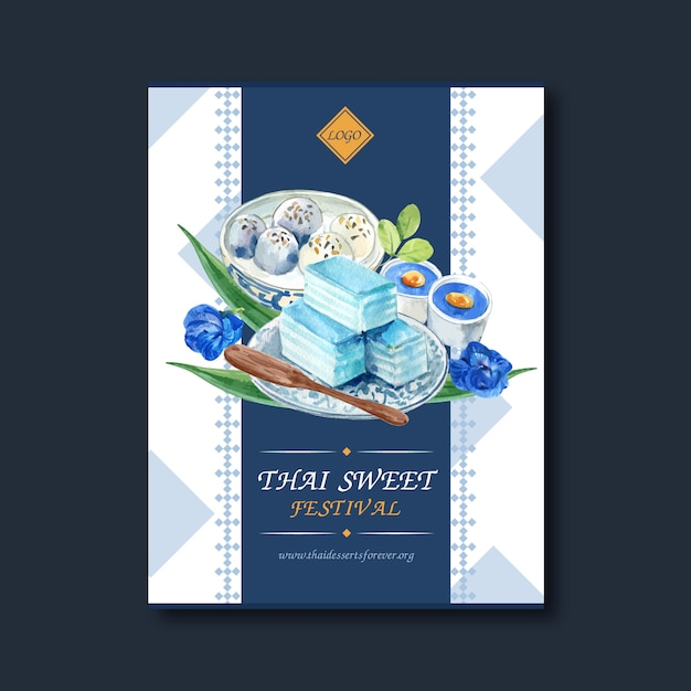 Thailändisches süßes plakatdesign mit überlagertem gelee, puddingillustrationsaquarell. Kostenlosen Vektoren