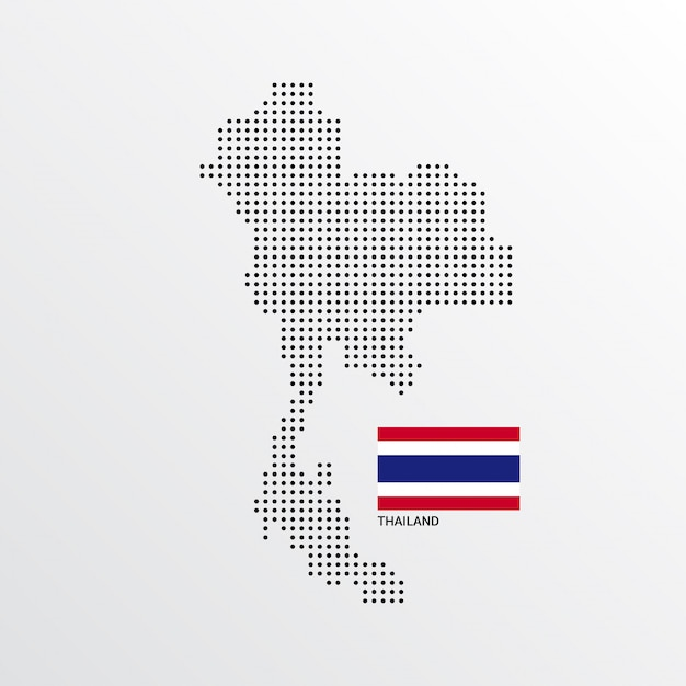 Thailand-kartenentwurf mit flaggen- und hellem hintergrundvektor Kostenlosen Vektoren