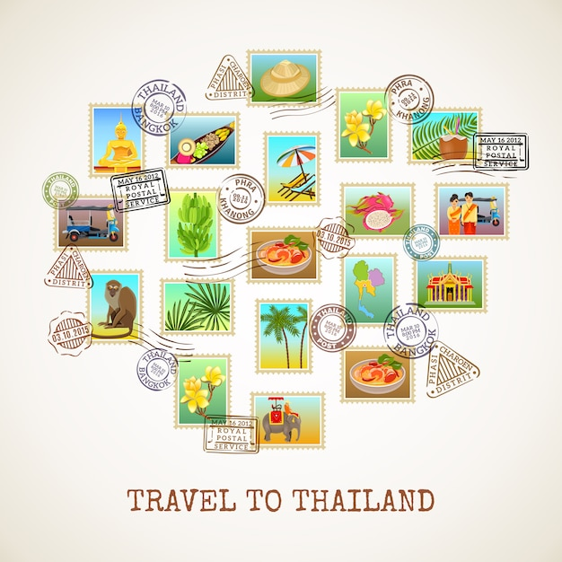 Thailand-postkarten-plakat Kostenlosen Vektoren