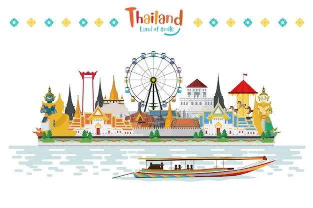 Thailand-reise mit anziehungskräften und feiern Premium Vektoren