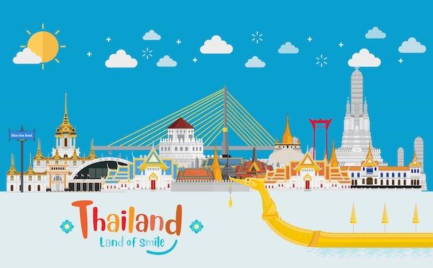 Thailand-reisekonzept. der goldene palast, zum in thailand im flachen stil und im sonnigen tag zu besuchen Premium Vektoren
