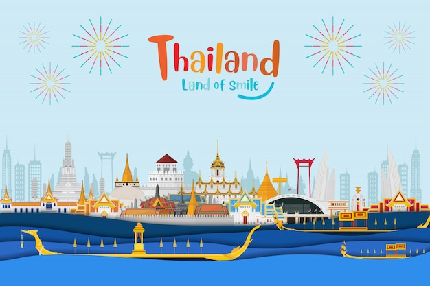 Thailand reisen hintergrund Premium Vektoren