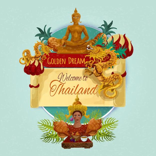 Thailand-touristisches plakat Kostenlosen Vektoren