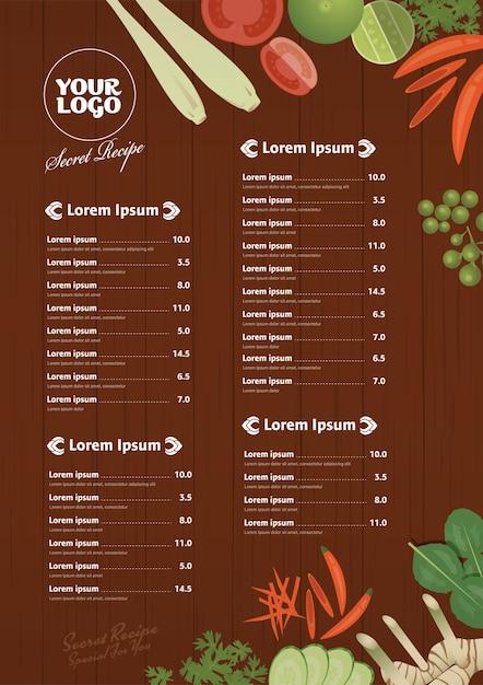Thailändische Lebensmittel Restaurant Menüvorlage | Download der ...
