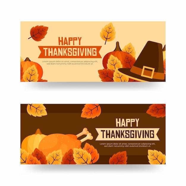Thanksgiving-banner im flachen design Kostenlosen Vektoren