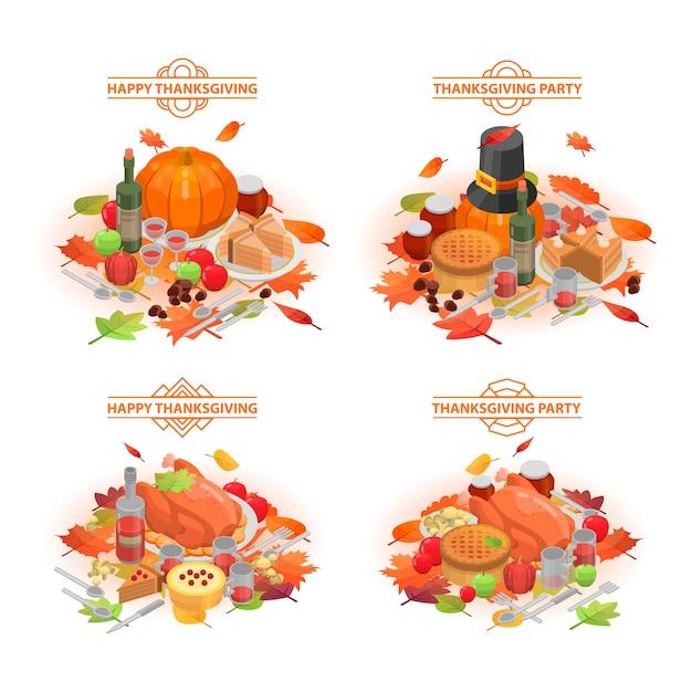 Thanksgiving day banner gesetzt. isometrischer satz der erntedankfestvektorfahne für webdesign Premium Vektoren