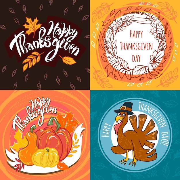 Thanksgiving day banner gesetzt Premium Vektoren