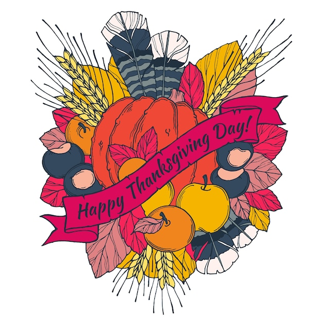 Thanksgiving day grußkarte mit spikes, federn, kastanien, gemüse und obst Premium Vektoren