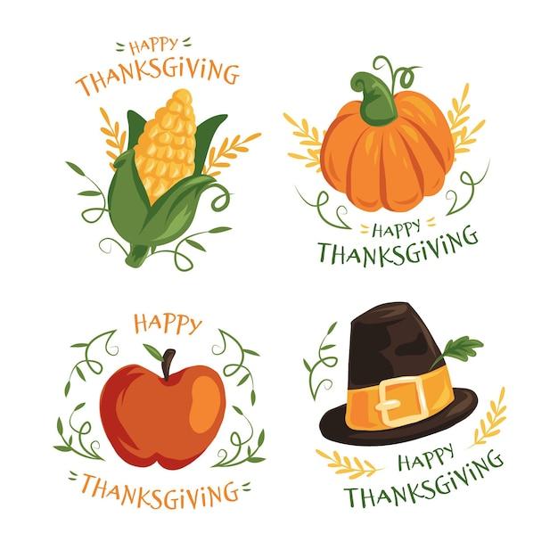 Thanksgiving-etikettensammlung im flachen design Kostenlosen Vektoren