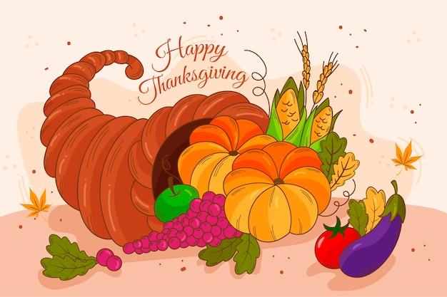 Thanksgiving hintergrund hand gezeichnet Kostenlosen Vektoren