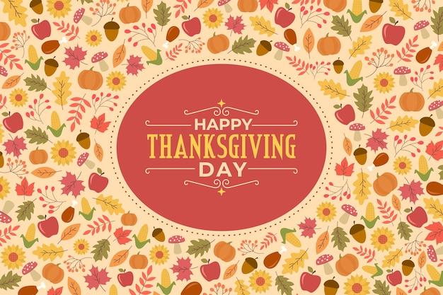 Thanksgiving-hintergrund im flachen design Kostenlosen Vektoren